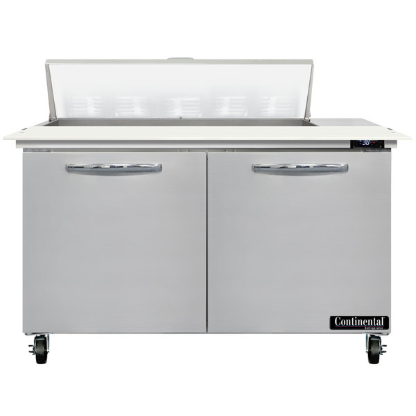 """Continental Refrigerator SW48-N-10C 48"""" 2 Door Cutting Top Refrigerated Sandwich Prep Table Main Image 1"""