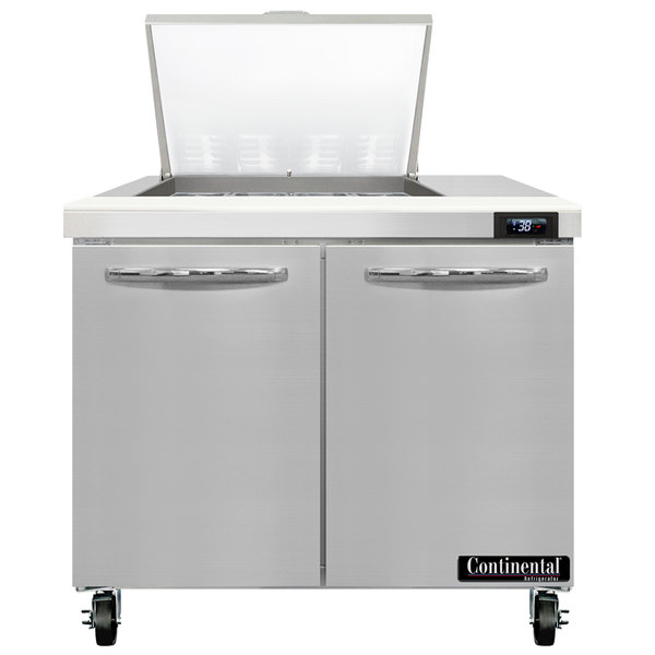 "Continental Refrigerator SW36-N-12M 36"" 2 Door Mighty Top Refrigerated Sandwich Prep Table"
