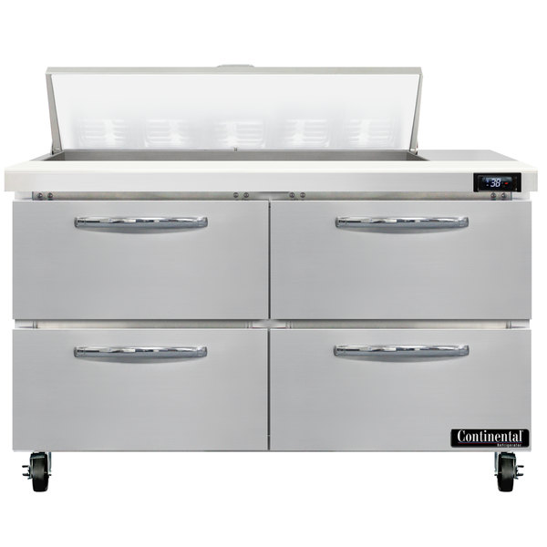 """Continental Refrigerator SW48-N-10-D 48"""" 4 Drawer Refrigerated Sandwich Prep Table Main Image 1"""