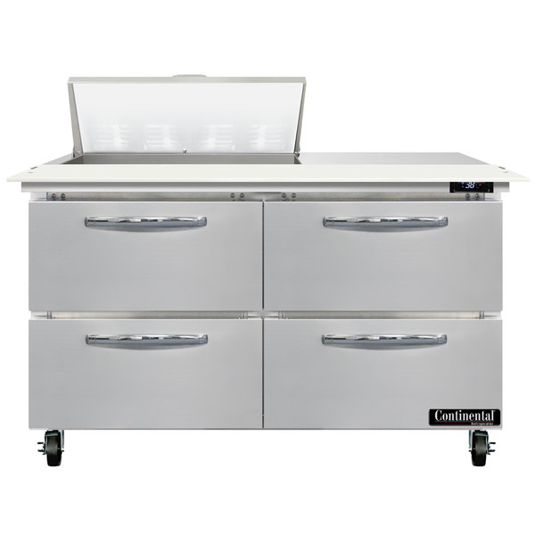"""Continental Refrigerator SW48-N-8C-D 48"""" 4 Drawer Cutting Top Refrigerated Sandwich Prep Table Main Image 1"""