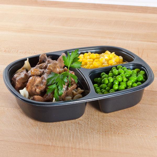 Genpak 55027 Dual Ovenable 3-Compartment Food Pan - 250/Case