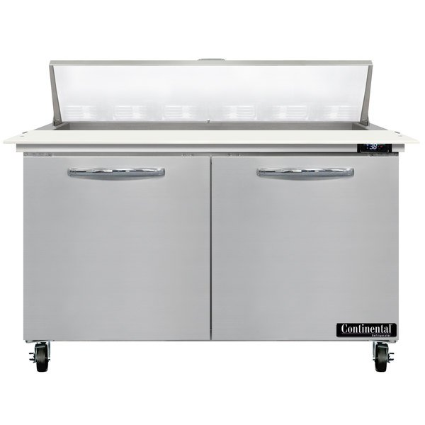 Continental Refrigerator SW48-N-12C 48 inch 2 Door Cutting Top Refrigerated Sandwich Prep Table
