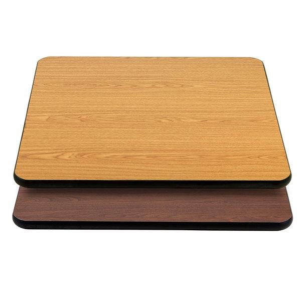 "Lancaster Table & Seating 36"" x 36"" Laminated Square Table Top Reversible Walnut / Oak"
