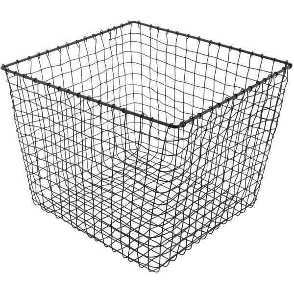 "GET WB-305-MG Breeze 11"" x 8"" Square Metal Gray Storage and Display Basket"