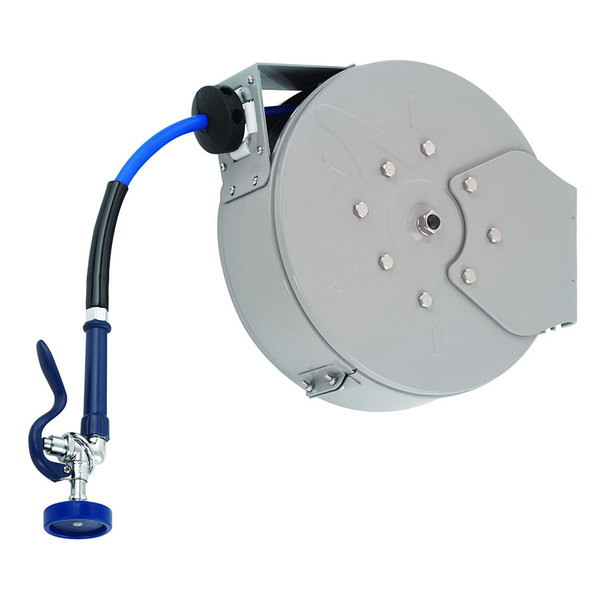 T&S B-7222-C01 30' Enclosed Epoxy Coated Steel Hose Reel with Blue Spray Valve