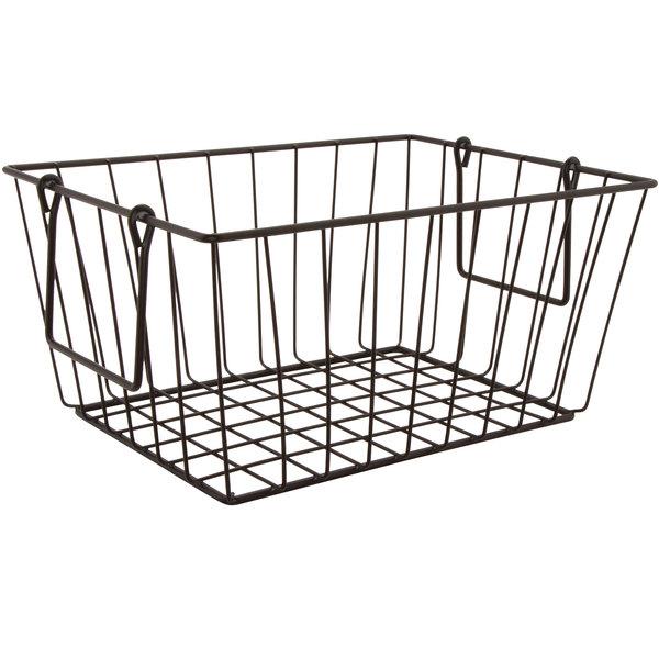 "GET WB-315-MG Breeze 11 1/2"" x 8 1/2"" x 8"" Rectangular Metal Gray Basket with Swinging Handles"
