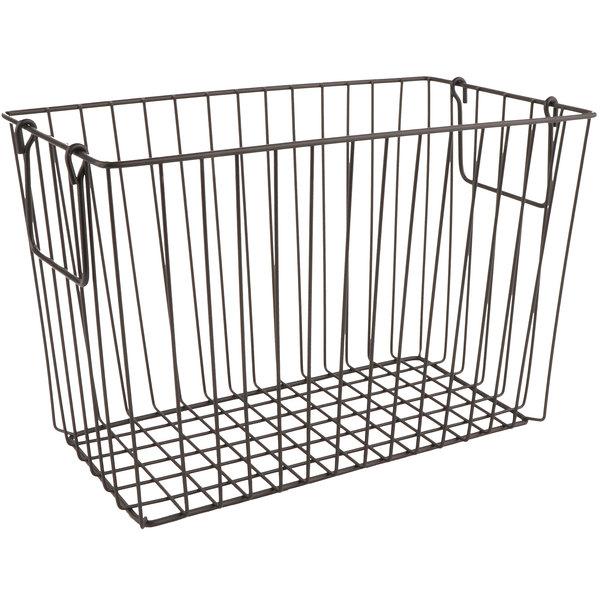 "GET WB-313-MG Breeze 14 1/2"" x 7 1/4"" x 9 1/4"" Rectangular Metal Gray Storage Basket with Swinging Handles"