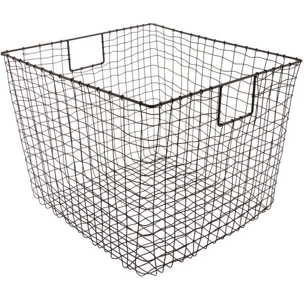 """GET WB-302-MG Breeze 19"""" x 14"""" Square Metal Gray Storage Basket"""