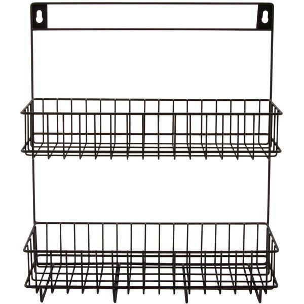 "GET WB-308-MG Breeze 12"" x 3 1/2"" x 13"" Metal Gray 2 Level Hanging Wall Basket"