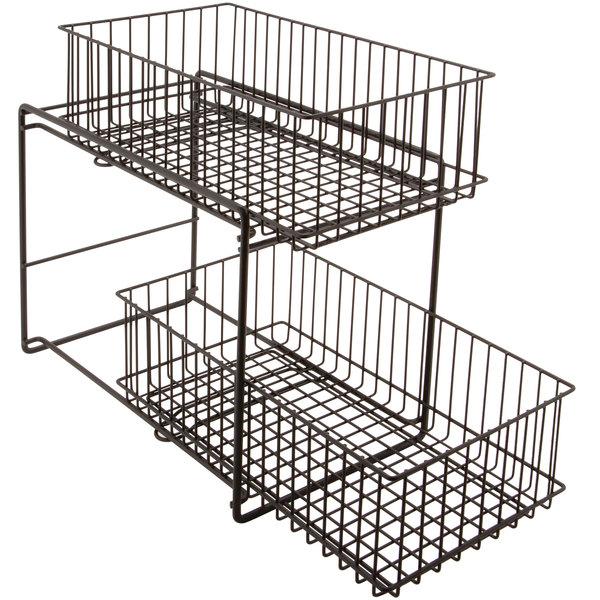 "GET WB-309-MG Breeze 15"" x 8"" x 11"" Metal Gray Sliding Shelf Baskets"