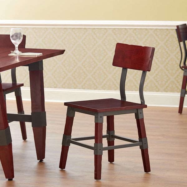 Lancaster Table & Seating Rustic Industrial Dining Side Chair with Mahogany Finish Main Image 4