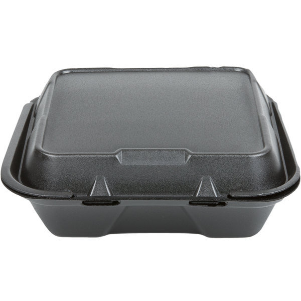 Genpak SN200-BK 9 inch x 9 inch x 3 inch Black Foam Hinged Lid Container 100 / Pack