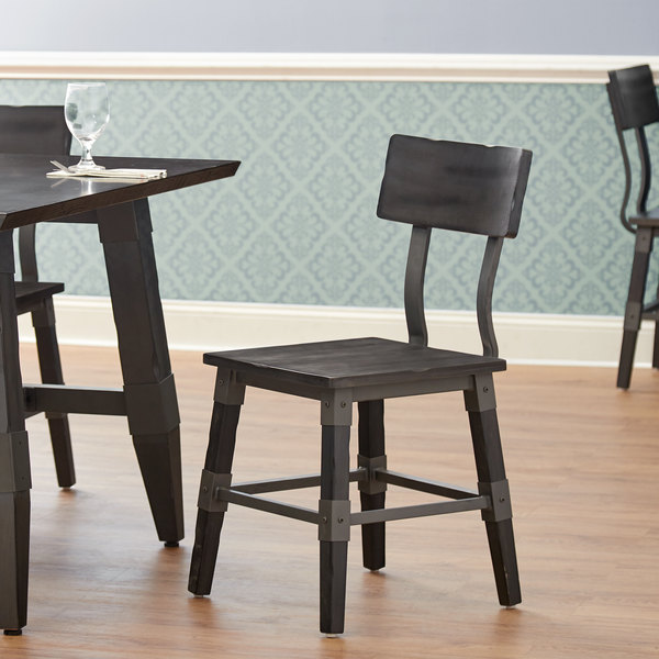 Lancaster Table & Seating Rustic Industrial Dining Side Chair with Slate Gray Finish Main Image 4