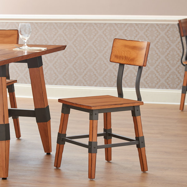 Lancaster Table & Seating Rustic Industrial Dining Side Chair with Antique Natural Finish Main Image 4