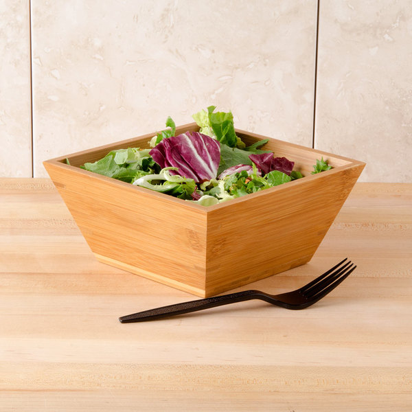 "American Metalcraft BAM73 Square Bamboo Bowl - 7"" x 3 3/8"""