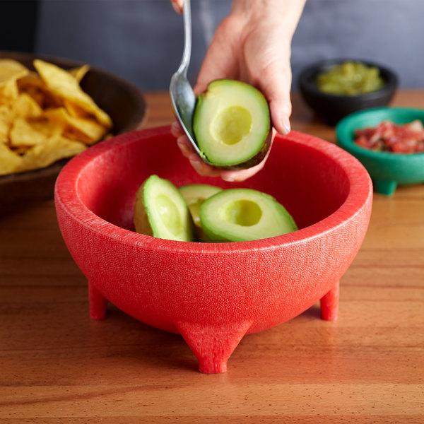 Choice Thermal Plastic 56 oz. Red Molcajete Bowl Main Image 2