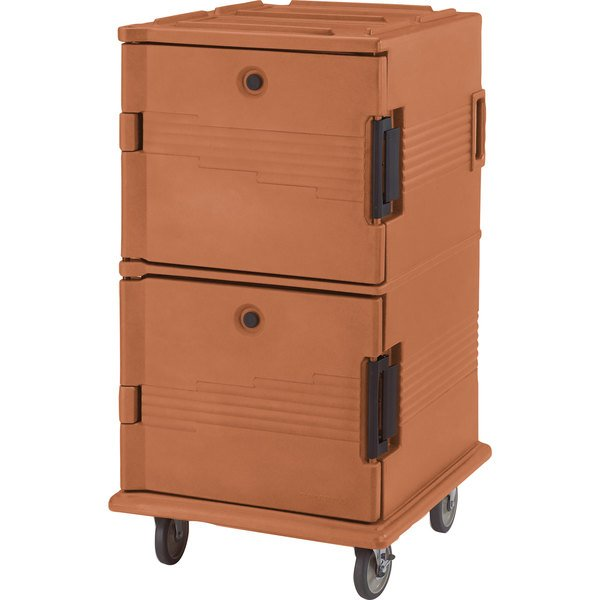 Cambro UPC1600HD157 Coffee Beige Ultra Camcart Insulated Food Pan Carrier with Heavy Duty Casters