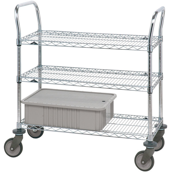 """Metro 3SPN43PS Super Erecta Stainless Steel Three Shelf Heavy Duty Utility Cart with Polyurethane Casters - 21"""" x 36"""" x 39"""" Main Image 1"""