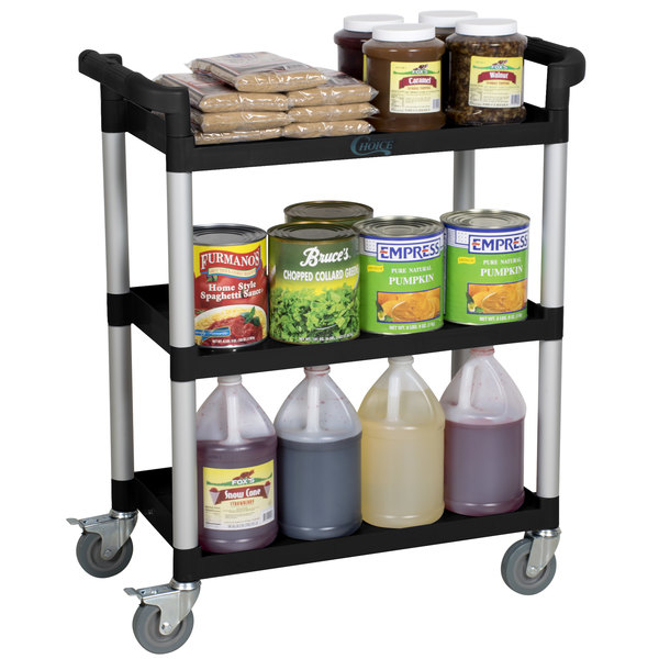 "33 1/2"" x 16 1/8"" x 37"" Black Three Shelf Utility Cart / Bus Cart"