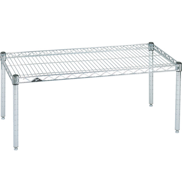 "Metro P2436NC 36"" x 24"" x 14"" Super Erecta Chrome Wire Dunnage Rack - 800 lb. Capacity"