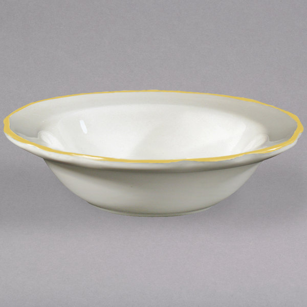 "6 3/8"" Ivory (American White) Scalloped Edge China Fruit Bowl with Gold Band - 36/Case"