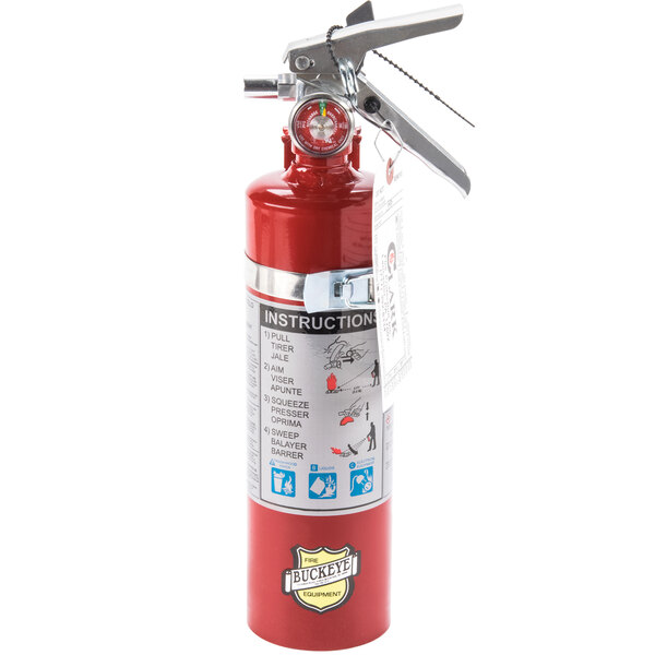 Buckeye 2.5 lb. ABC Dry Chemical Fire Extinguisher - Rechargeable Untagged with Vehicle Bracket - UL Rating 1-A:10-B:C Main Image 1