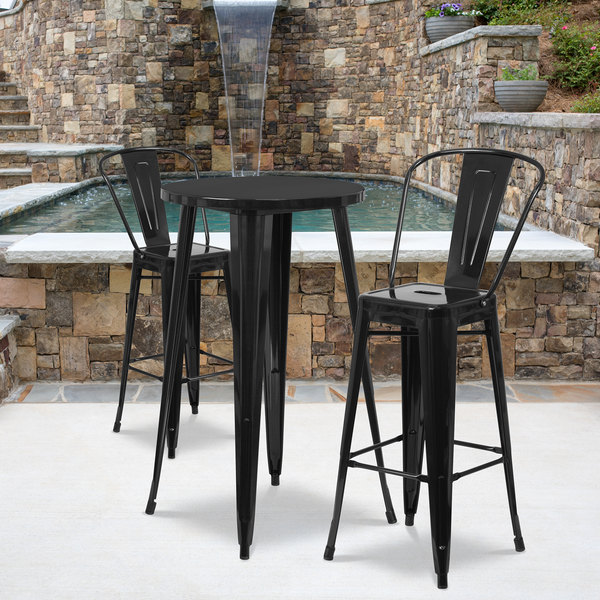 """Flash Furniture CH-51080BH-2-30CAFE-BK-GG 24"""" Round Black Metal Indoor / Outdoor Bar Height Table with 2 Cafe Stools Main Image 4"""