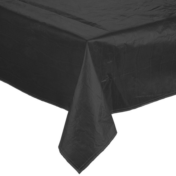 "52"" x 52"" Black Vinyl Table Cover with Flannel Back"