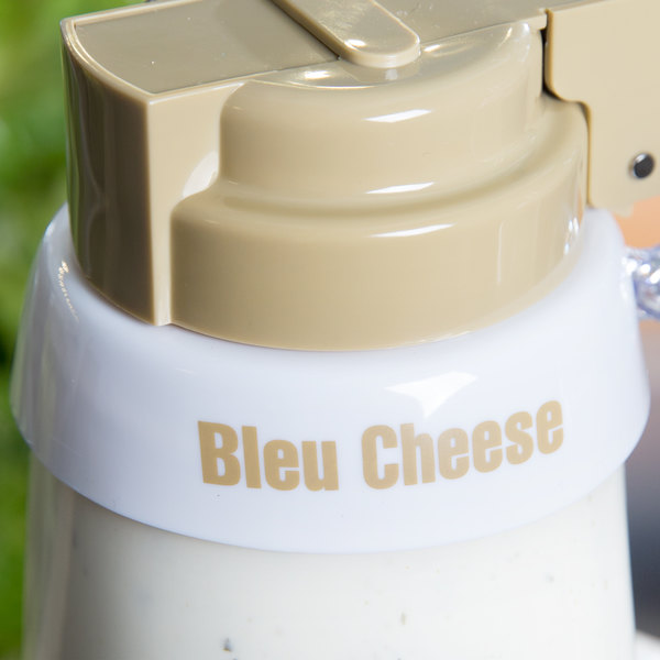 """Tablecraft CB1 Imprinted White Plastic """"Bleu Cheese"""" Salad Dressing Dispenser Collar with Beige Lettering"""