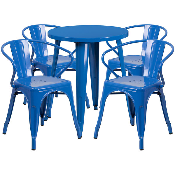 """Flash Furniture CH-51080TH-4-18ARM-BL-GG 24"""" Round Blue Metal Indoor / Outdoor Table with 4 Arm Chairs Main Image 1"""