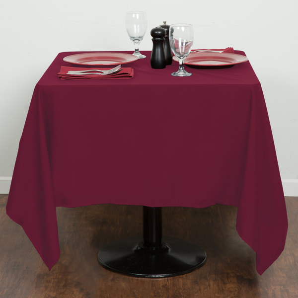 """64"""" x 64"""" Mauve 100% Polyester Hemmed Cloth Table Cover"""