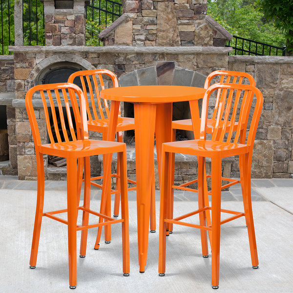 """Flash Furniture CH-51080BH-4-30VRT-OR-GG 24"""" Round Orange Metal Indoor / Outdoor Bar Height Table with 4 Vertical Slat Back Stools Main Image 4"""