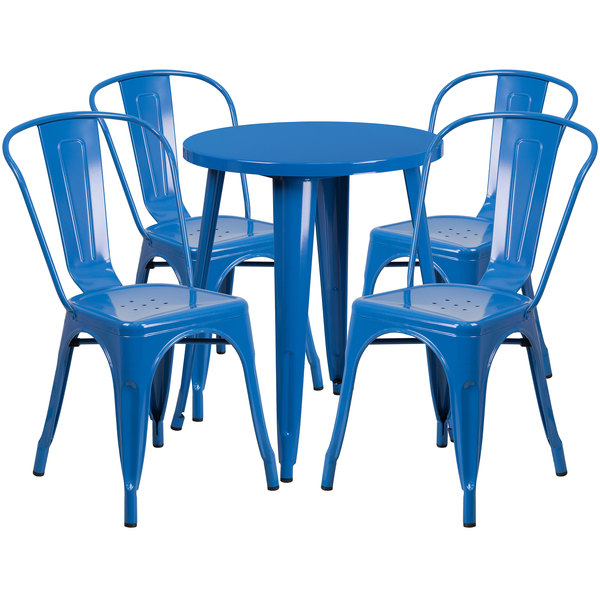 """Flash Furniture CH-51080TH-4-18CAFE-BL-GG 24"""" Round Blue Metal Indoor / Outdoor Table with 4 Cafe Chairs Main Image 1"""