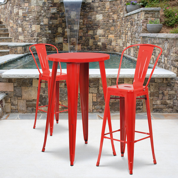 Magnificent Flash Furniture Ch 51080Bh 2 30Cafe Red Gg 24 Round Red Metal Indoor Outdoor Bar Height Table With 2 Cafe Stools Uwap Interior Chair Design Uwaporg