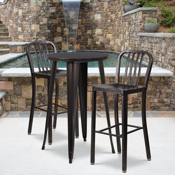 antique style a black metal Garden furniture set table /& 2 chairs