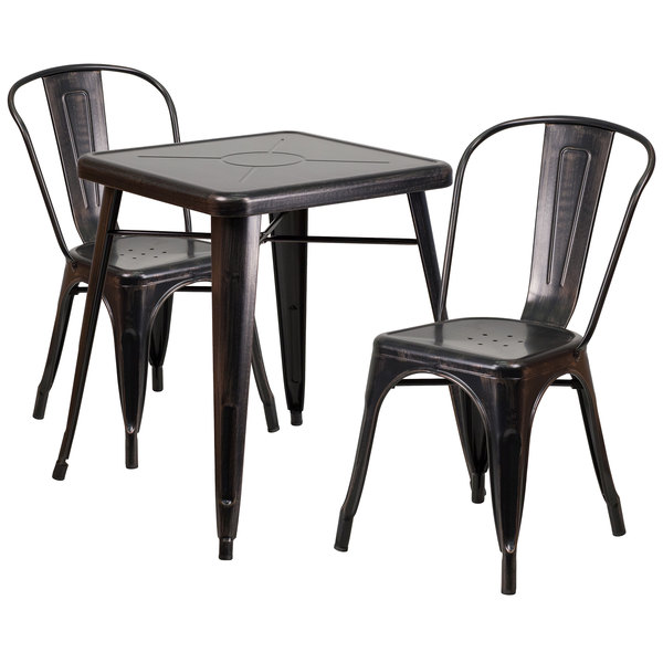 "Flash Furniture CH-31330-2-30-BQ-GG 23 3/4"" Square Black-Antique Gold Metal Indoor / Outdoor Table with 2 Stack Chairs Main Image 1"