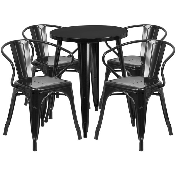 """Flash Furniture CH-51080TH-4-18ARM-BK-GG 24"""" Round Black Metal Indoor / Outdoor Table with 4 Arm Chairs Main Image 1"""
