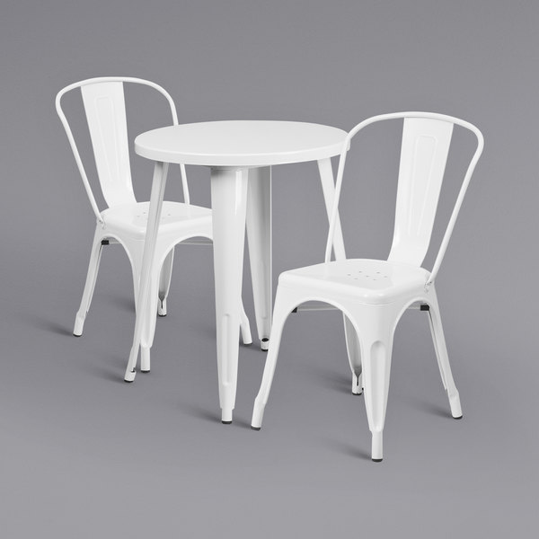 """Flash Furniture CH-51080TH-2-18CAFE-WH-GG 24"""" Round White Metal Indoor / Outdoor Table with 2 Cafe Chairs Main Image 1"""
