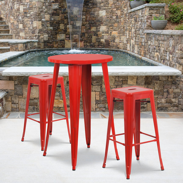 """Flash Furniture CH-51080BH-2-30SQST-RED-GG 24"""" Round Red Metal Indoor / Outdoor Bar Height Table with 2 Square Seat Backless Stools Main Image 4"""