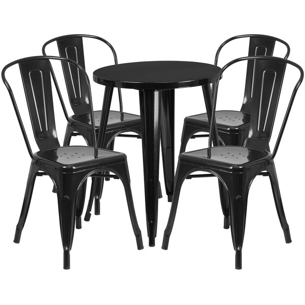 "Flash Furniture CH-51080TH-4-18CAFE-BK-GG 24"" Round Black Metal Indoor / Outdoor Table with 4 Cafe Chairs Main Image 1"