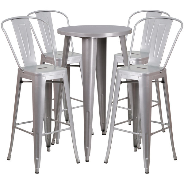 Pleasing Flash Furniture Ch 51080Bh 4 30Cafe Sil Gg 24 Round Silver Metal Indoor Outdoor Bar Height Table With 4 Cafe Stools Forskolin Free Trial Chair Design Images Forskolin Free Trialorg