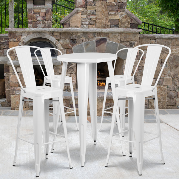 """Flash Furniture CH-51080BH-4-30CAFE-WH-GG 24"""" Round White Metal Indoor / Outdoor Bar Height Table with 4 Cafe Stools Main Image 4"""