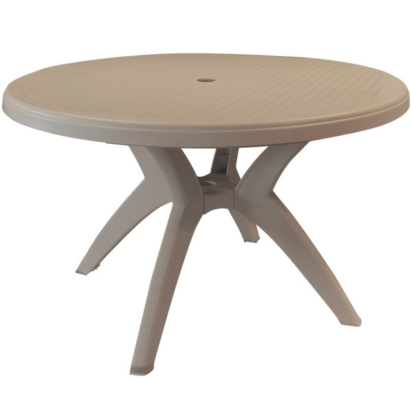 Grosfillex Us526181 Ibiza 46 French, Round Picnic Table With Umbrella Hole