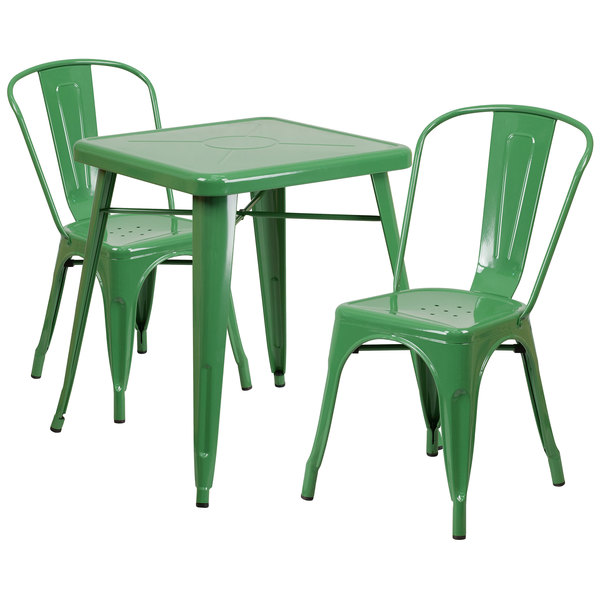 "Flash Furniture CH-31330-2-30-GN-GG 23 3/4"" Square Green Metal Indoor / Outdoor Table with 2 Stack Chairs Main Image 1"