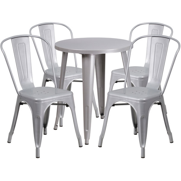 "Flash Furniture CH-51080TH-4-18CAFE-SIL-GG 24"" Round Silver Metal Indoor / Outdoor Table with 4 Cafe Chairs Main Image 1"