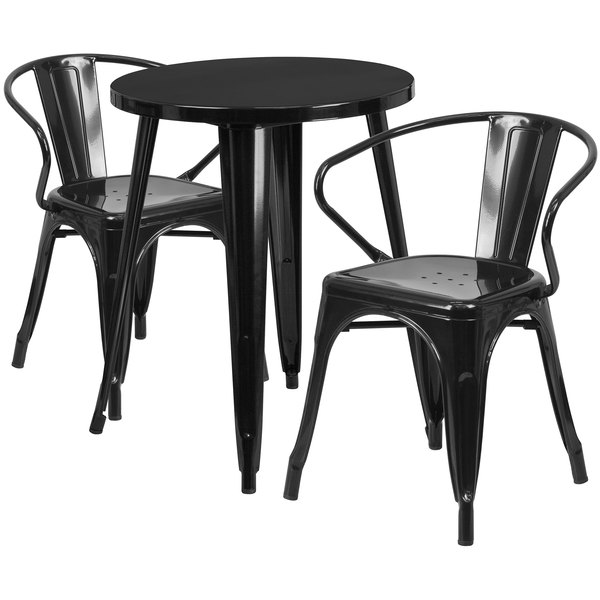 """Flash Furniture CH-51080TH-2-18ARM-BK-GG 24"""" Round Black Metal Indoor / Outdoor Table with 2 Arm Chairs Main Image 1"""