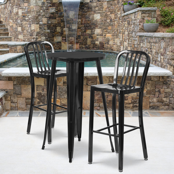 "Flash Furniture CH-51080BH-2-30VRT-BK-GG 24"" Round Black Metal Indoor / Outdoor Bar Height Table with 2 Vertical Slat Back Stools Main Image 4"