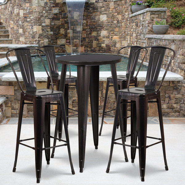 """Flash Furniture CH-51080BH-4-30CAFE-BQ-GG 24"""" Round Black-Antique Gold Metal Indoor / Outdoor Bar Height Table with 4 Cafe Stools Main Image 4"""