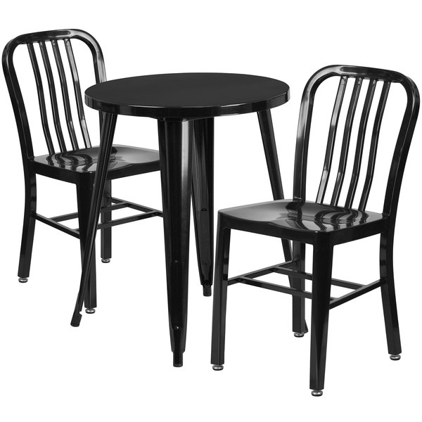 """Flash Furniture CH-51080TH-2-18VRT-BK-GG 24"""" Round Black Metal Indoor / Outdoor Table with 2 Vertical Slat Back Chairs Main Image 1"""