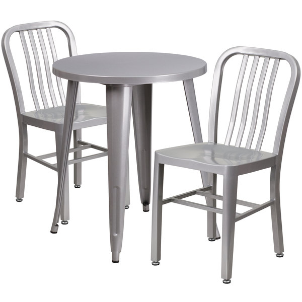 "Flash Furniture CH-51080TH-2-18VRT-SIL-GG 24"" Round Silver Metal Indoor / Outdoor Table with 2 Vertical Slat Back Chairs Main Image 1"